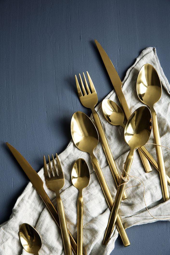 Couverts en laiton doré