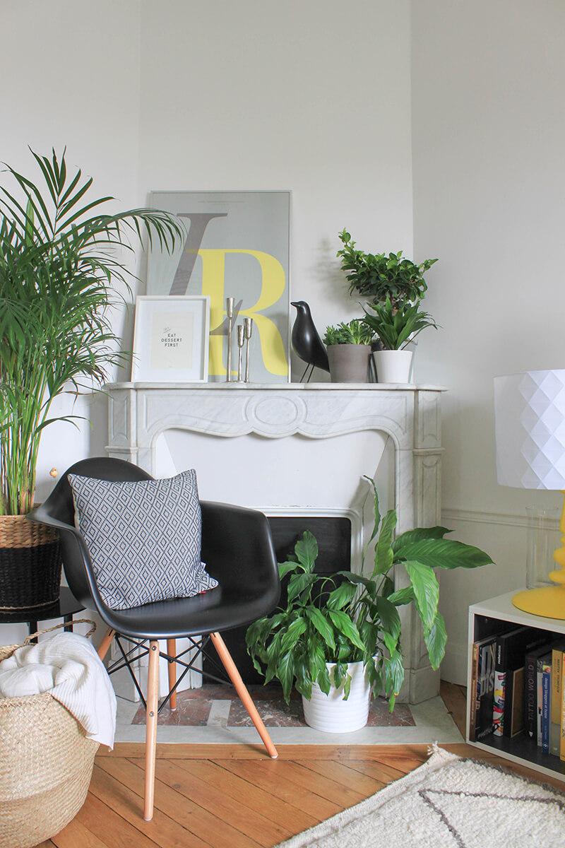 Décorer une cheminée en marbre avec des plantes