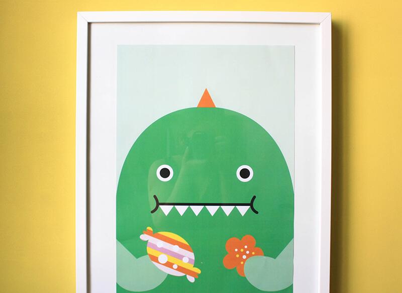 Affiche dinosaure rigolo