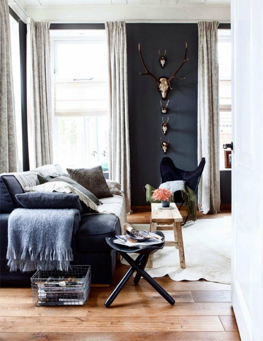 Mur noir salon décoration