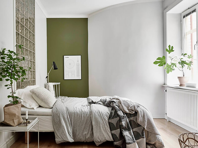 Vert de gris frenchy fancy for Decoration mur interieur chambre