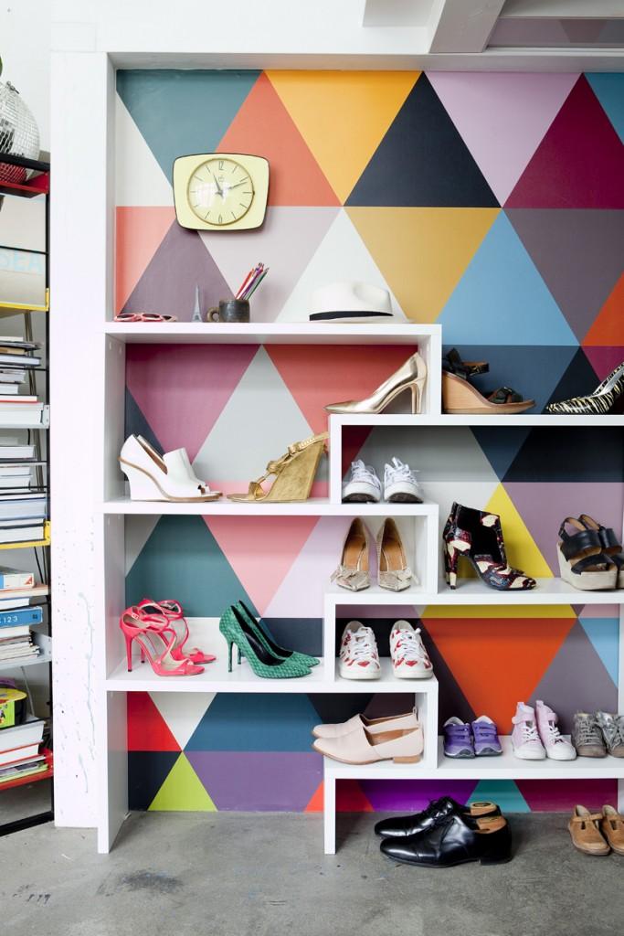 Papier peint motif géométrique coloré