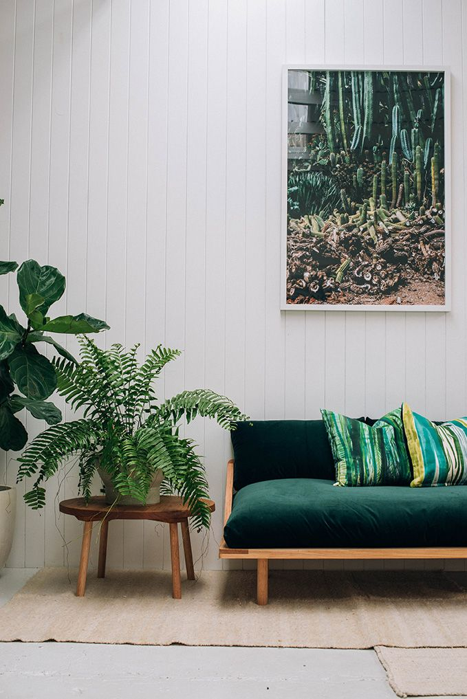 Canapé vert en velours