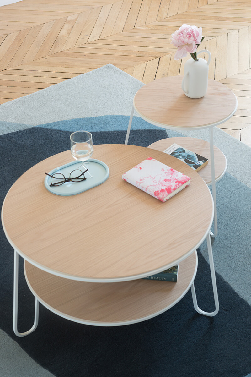 Table basse ronde en bois design