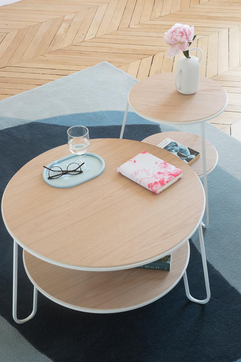 Table basse ronde en bois design