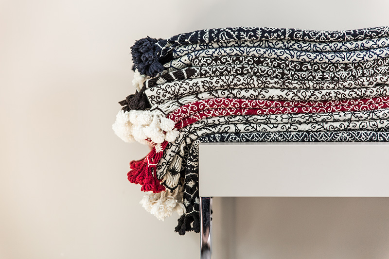 Plaid en laine à motifs