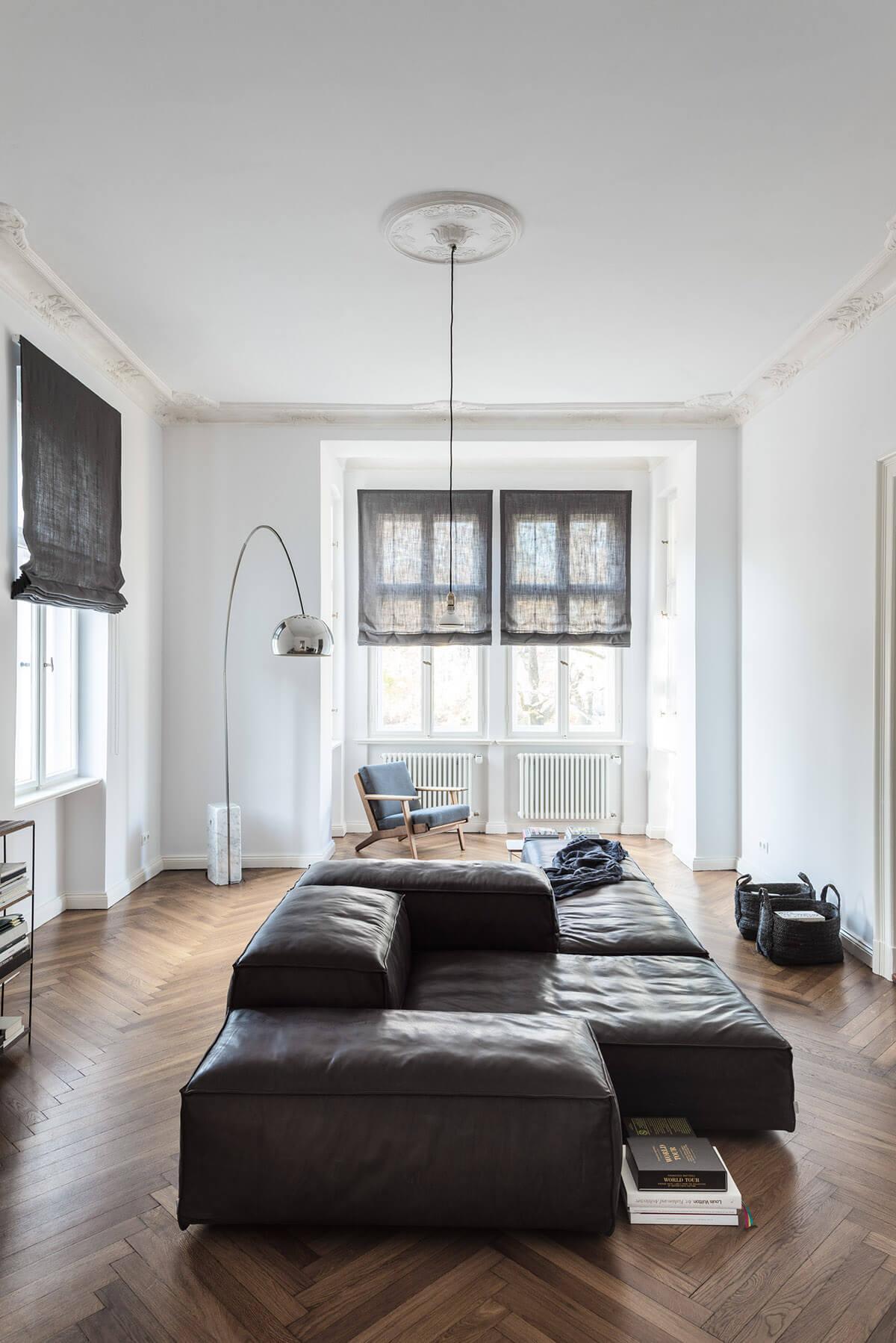 Canapé en cuir style vintage