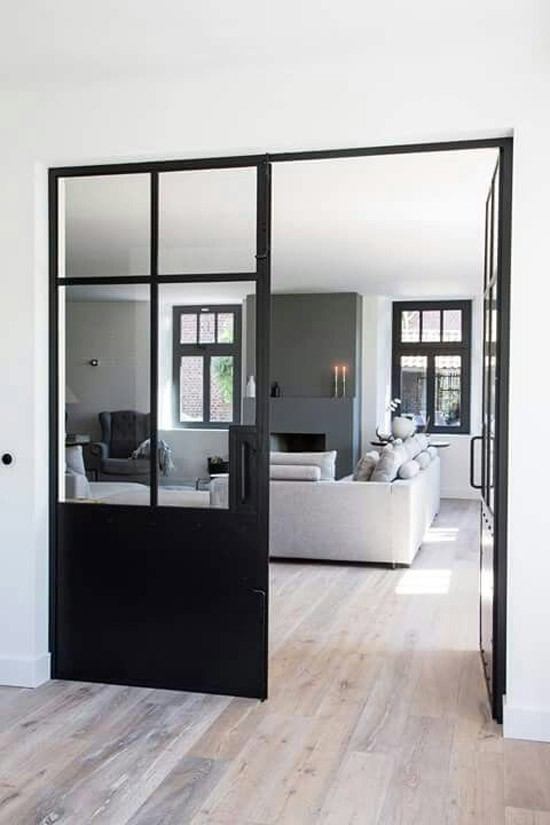 portes fenetres aluminium noir style atelier verriere. Black Bedroom Furniture Sets. Home Design Ideas