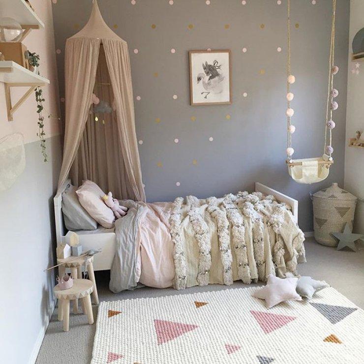 Chambre petite fille gris et rose