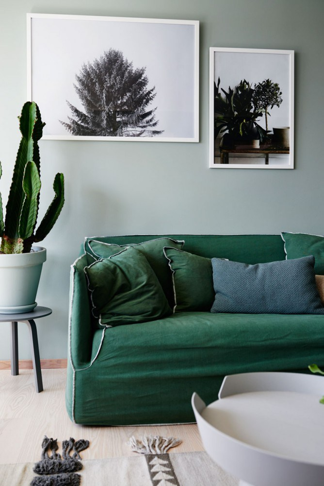 deco interieur peinture vert kaki green attitude look style nordique scandinave moderne. Black Bedroom Furniture Sets. Home Design Ideas