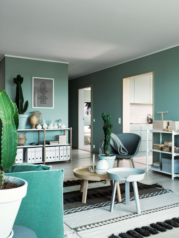 Deco interieur peinture vert kaki green attitude look for Decoration interieur scandinave