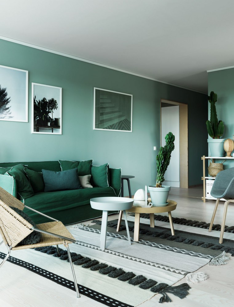 Deco interieur peinture vert kaki green attitude look style nordique scandinave moderne for Photo decoration interieur moderne