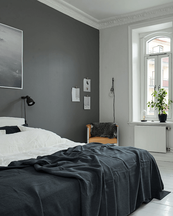 Deco chambres look noir black and white decoration for Peinture mur chambre