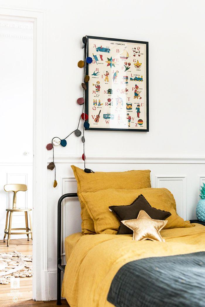 inspirations déco chambre enfant jaune et gris