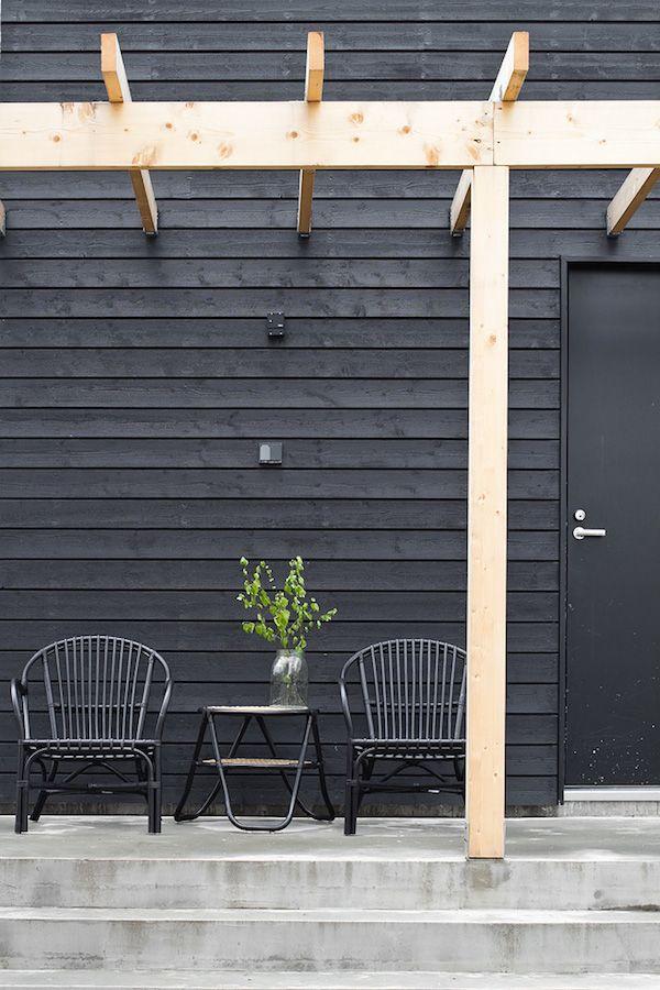 Mur decoration noir outdoor exterieur amenager terrasse for Amenager terrasse exterieur