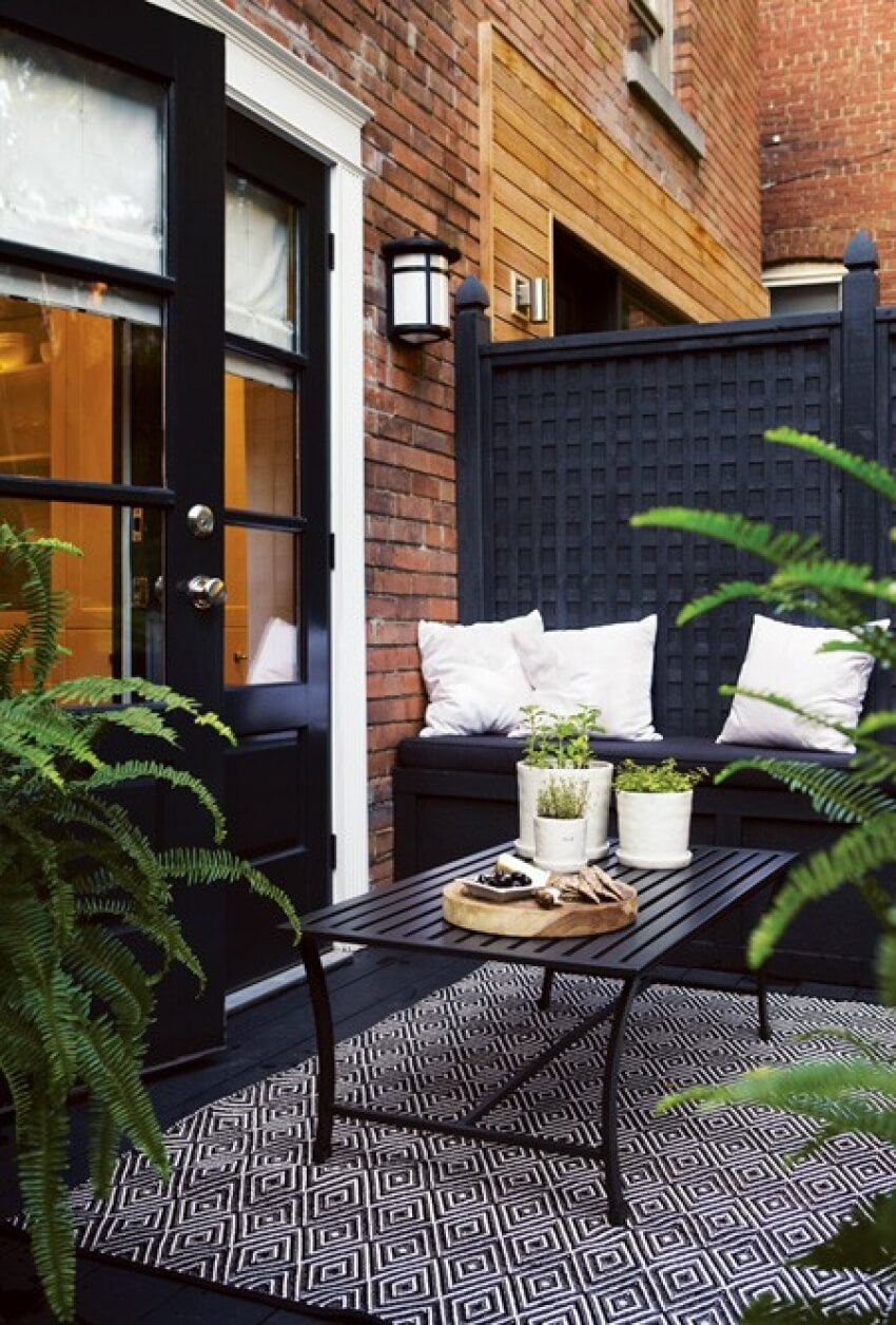 Mur decoration noir outdoor exterieur amenager terrasse for Decoration jardin balcon