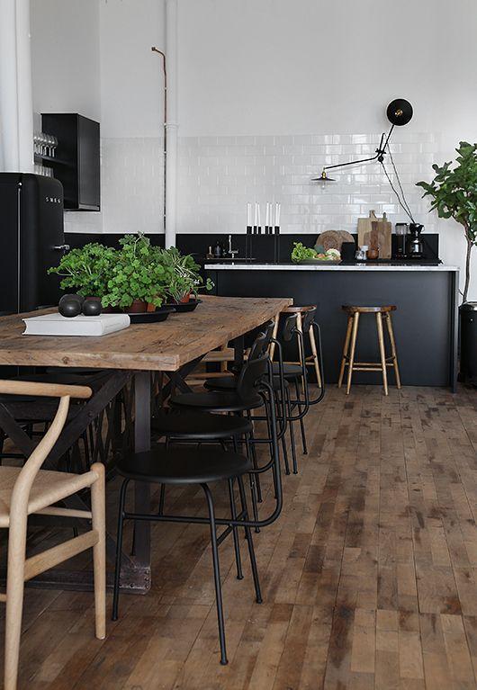 Déco cuisine noir et bois