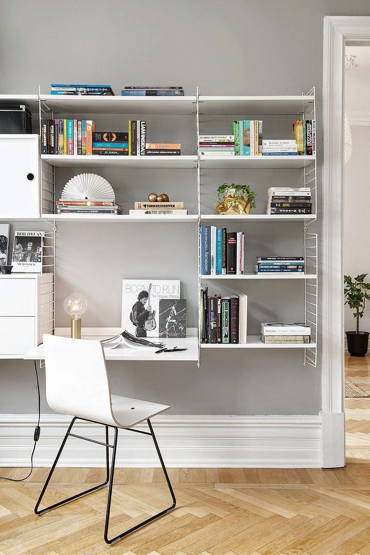 Bureau étagère String blanc