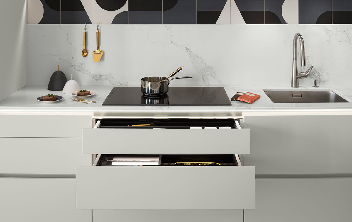 Crédence en marbre dans la cuisine