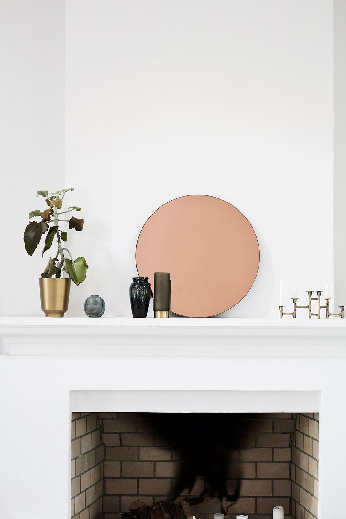 Miroir rond cuivré