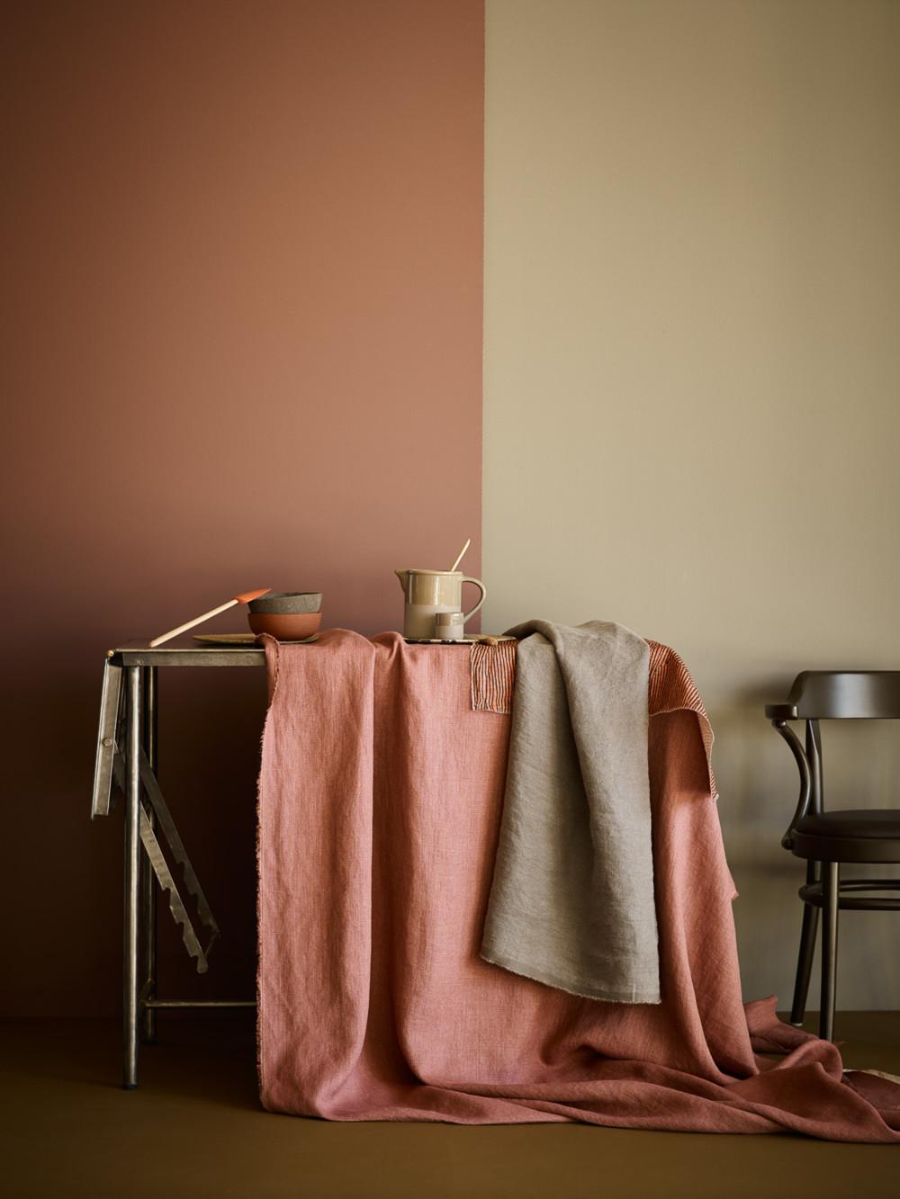 Linge de maison en lin couleur Terracotta