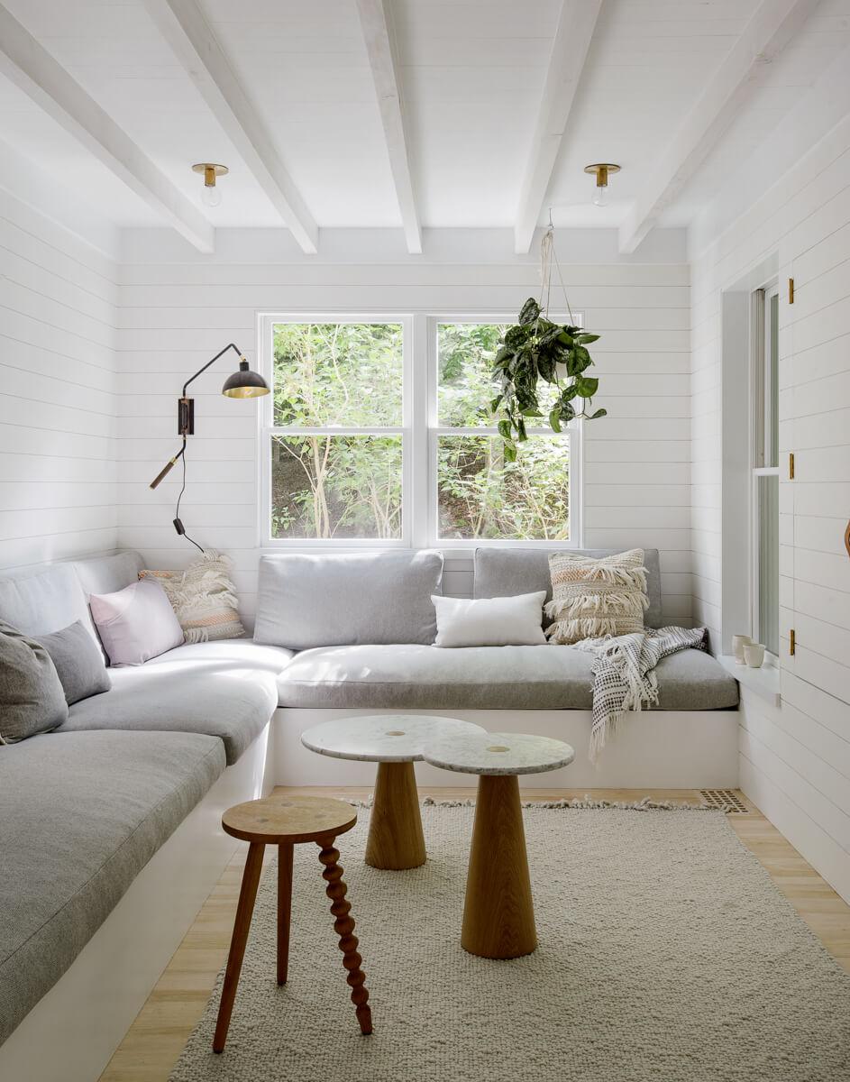 Canapé d'angle gris clair
