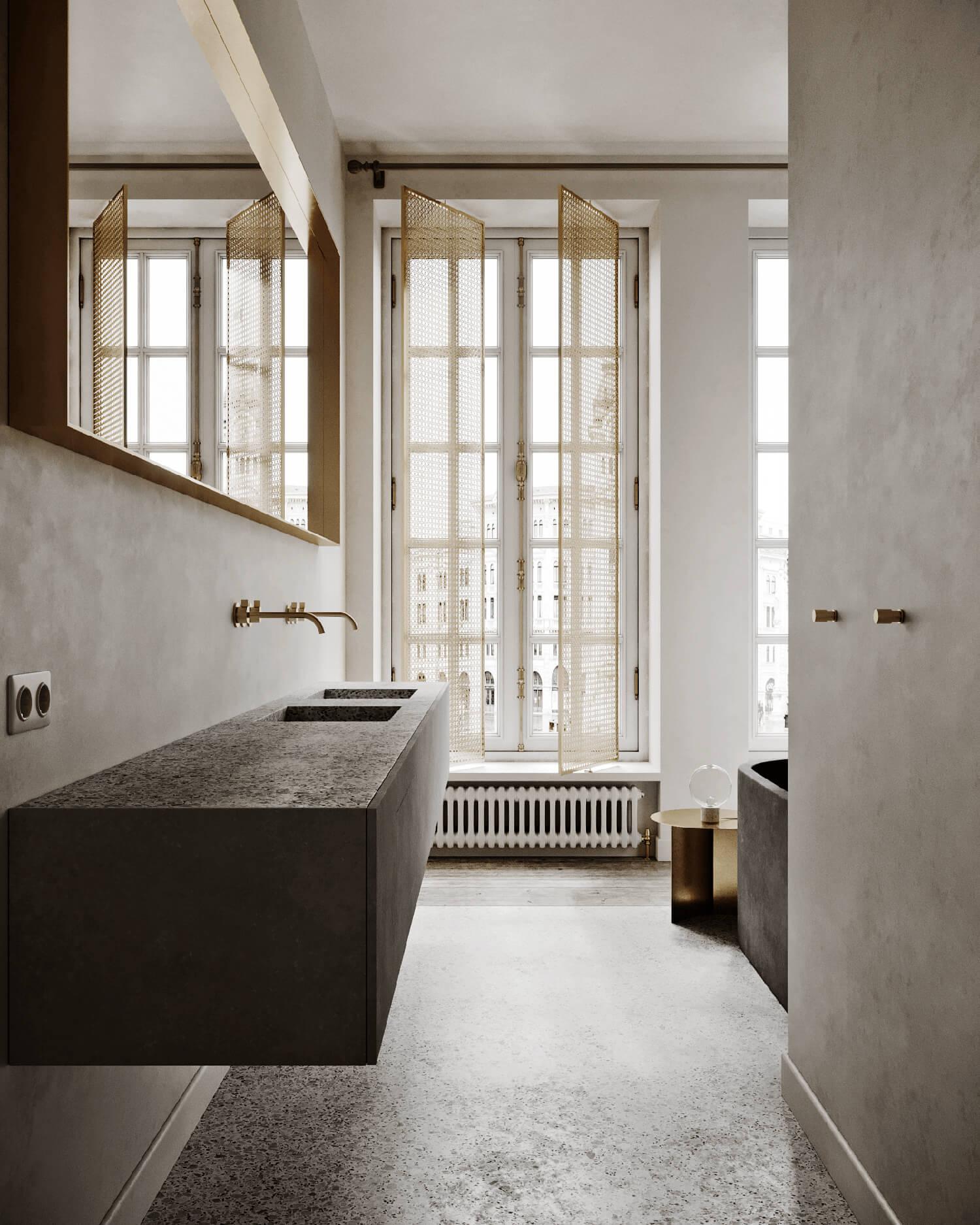 Une salle de bain minérale