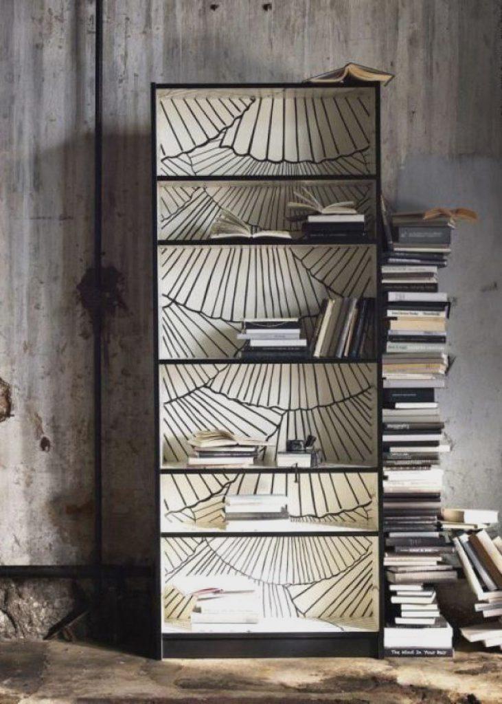 idée IKEA hack bibliothèque Billy papier peint déco