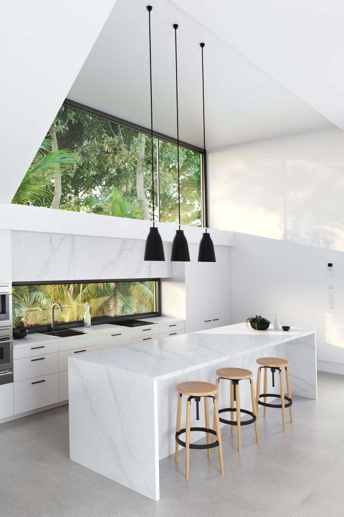 Cuisine ouverte avec ilot central en marbre blanc