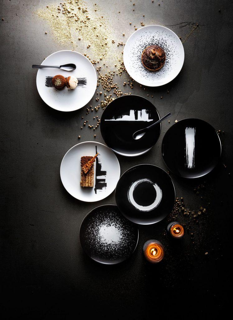 Vaisselle moderne en noir et blanc