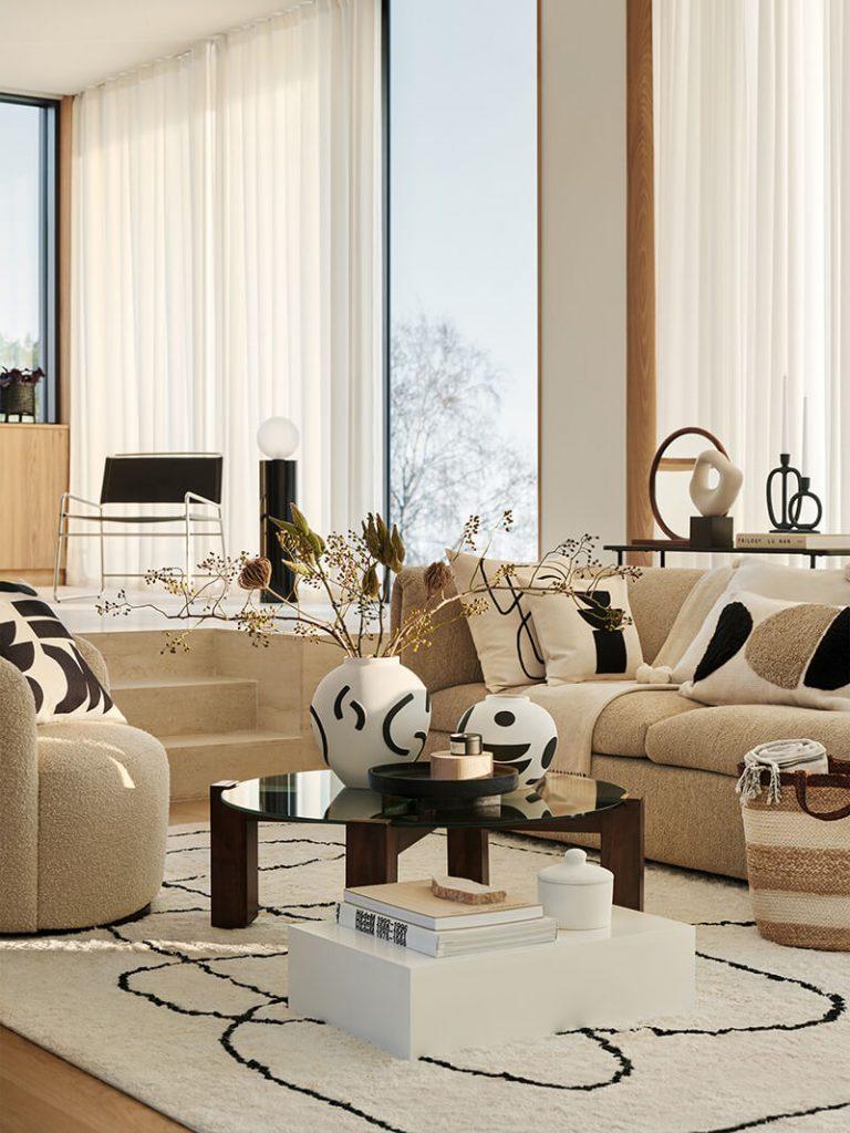 Décoration salon cosy couleurs naturelles H&M Home