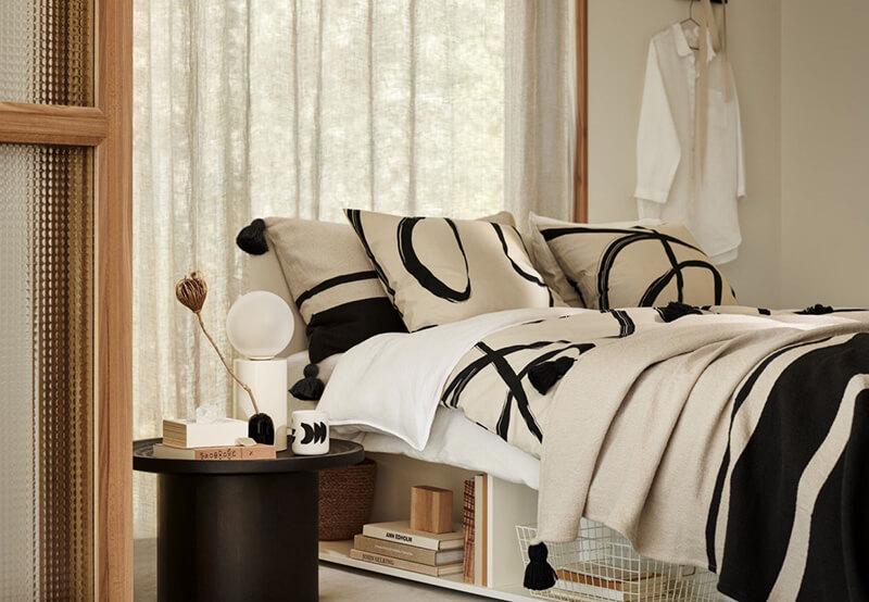 Chambre cosy en noir et blanc H&M Home