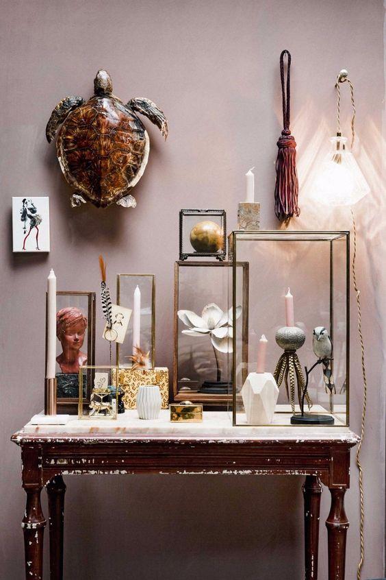 Boite vitrine rectangulaire style cabinet de Curiosités