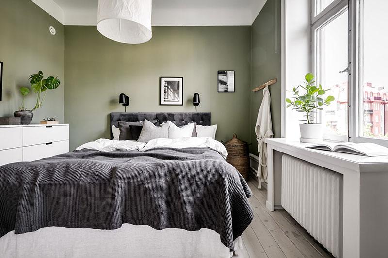 Chambre verte style scadinave