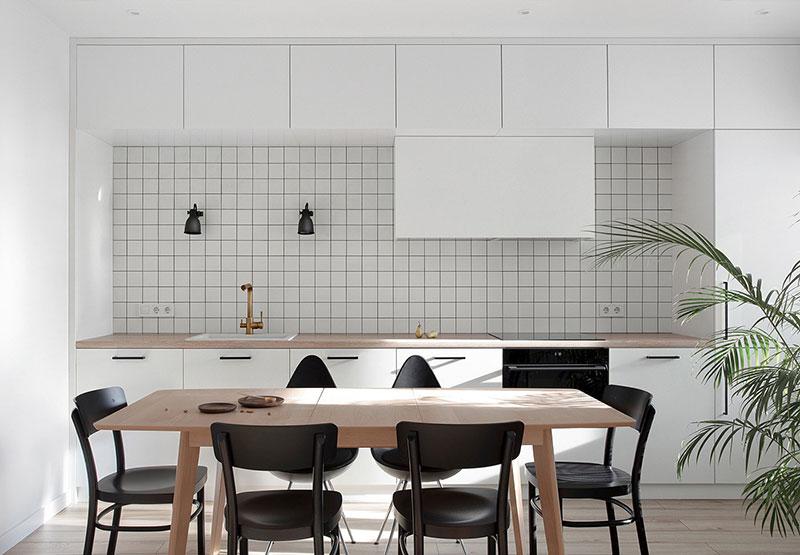 Cuisine noir et blanc minimaliste