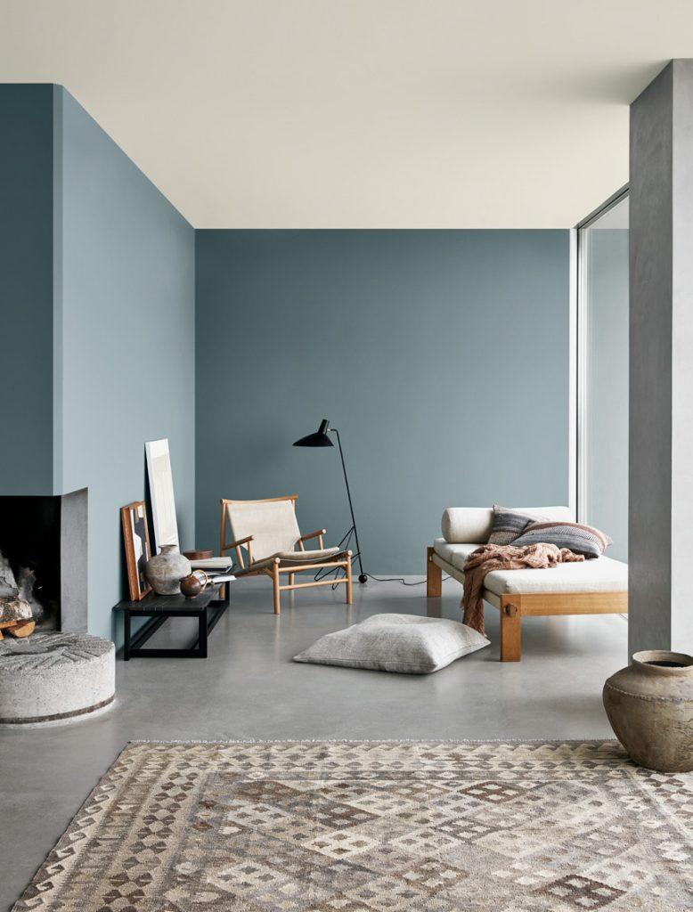 Décoration du salon murs bleu