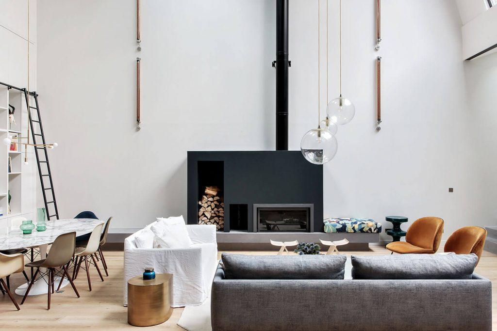 Décoration du salon cheminée contemporaine
