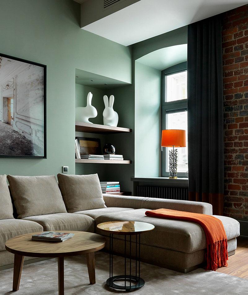 Décoration du salon murs verts