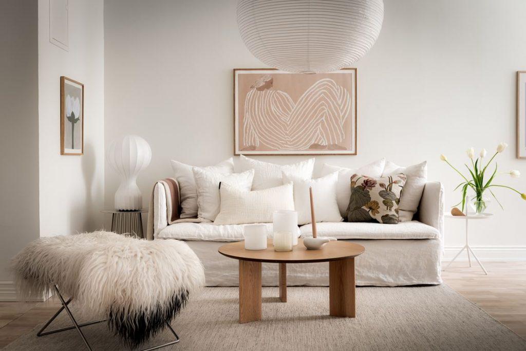 Décoration du salon table basse en bois style scandinave