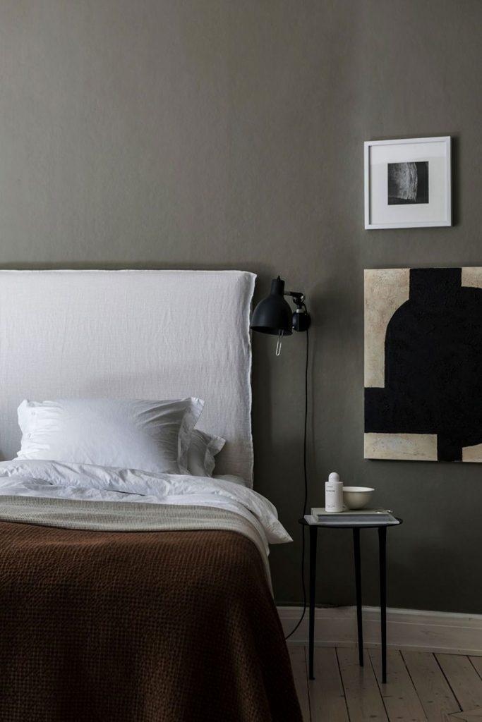 Déco chambre cosy avec tête de lit en lin froissé
