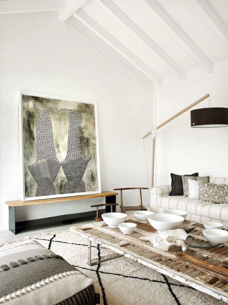 canapé blanc à rayures