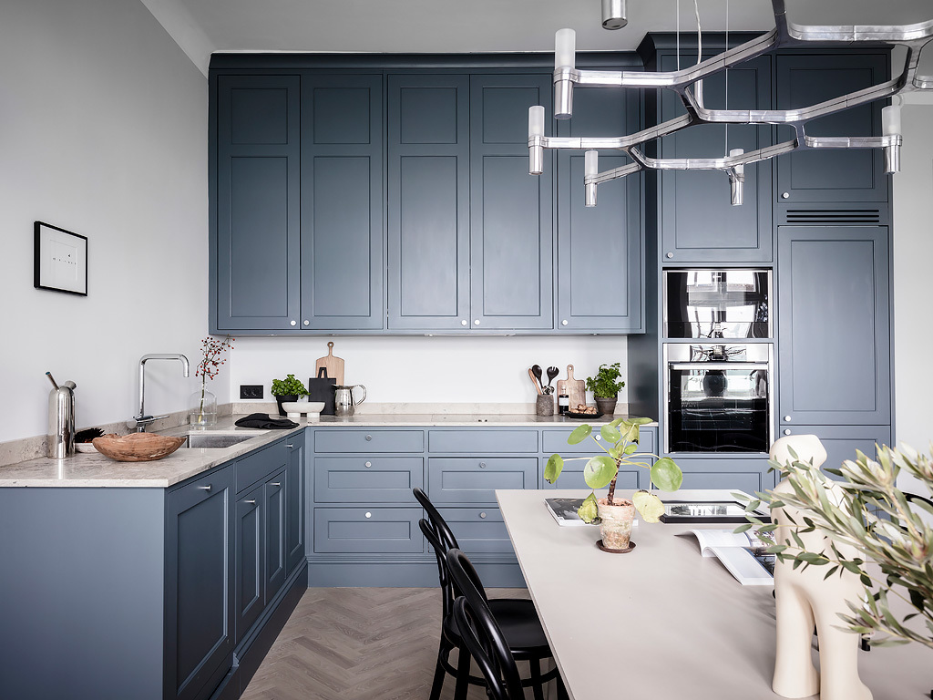 cuisine bleue gris