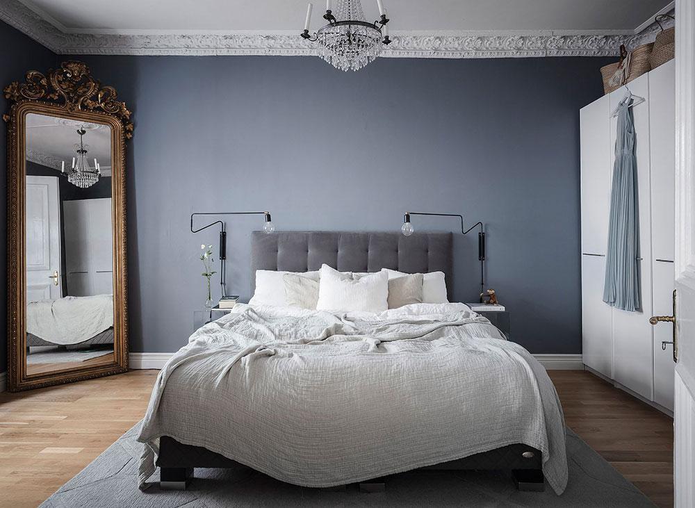 chambre bleue gris