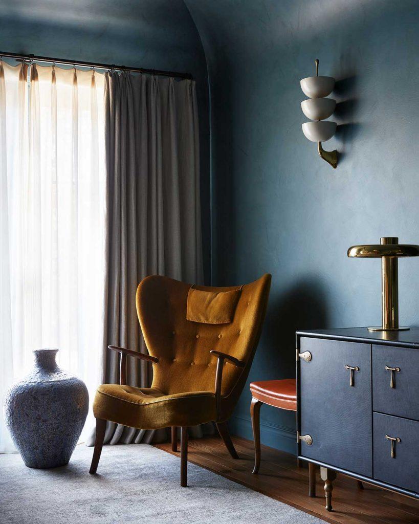 Mur peinture bleu canard